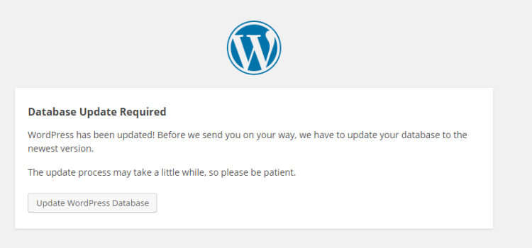 WordPress Database Update Message